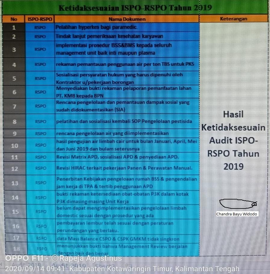 Hasil Ketidaksesuaian Audit Tahun 2019