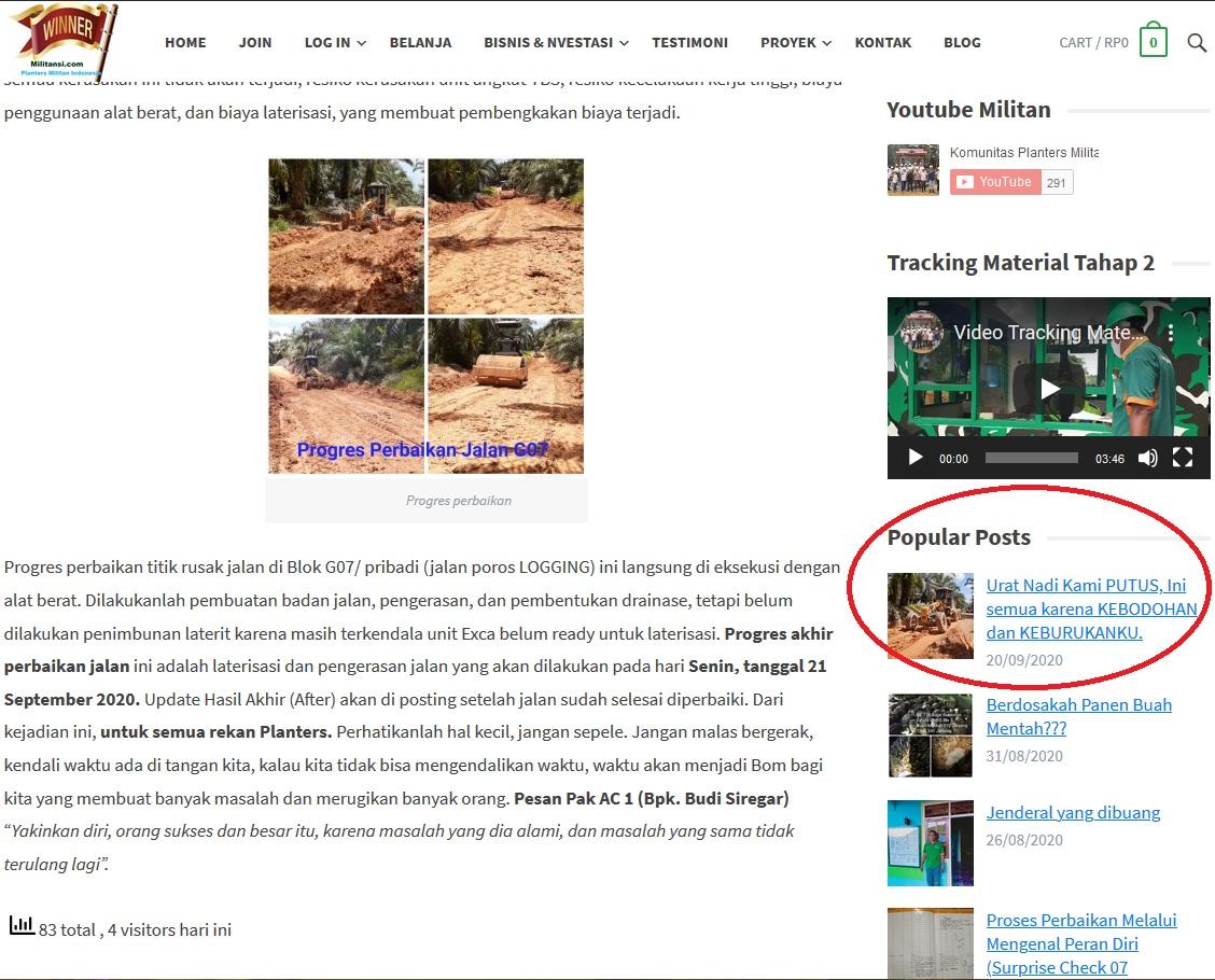 Peringkat teratas popular pos di Militansi.com begitu tulisan di publish pada hari yang sama