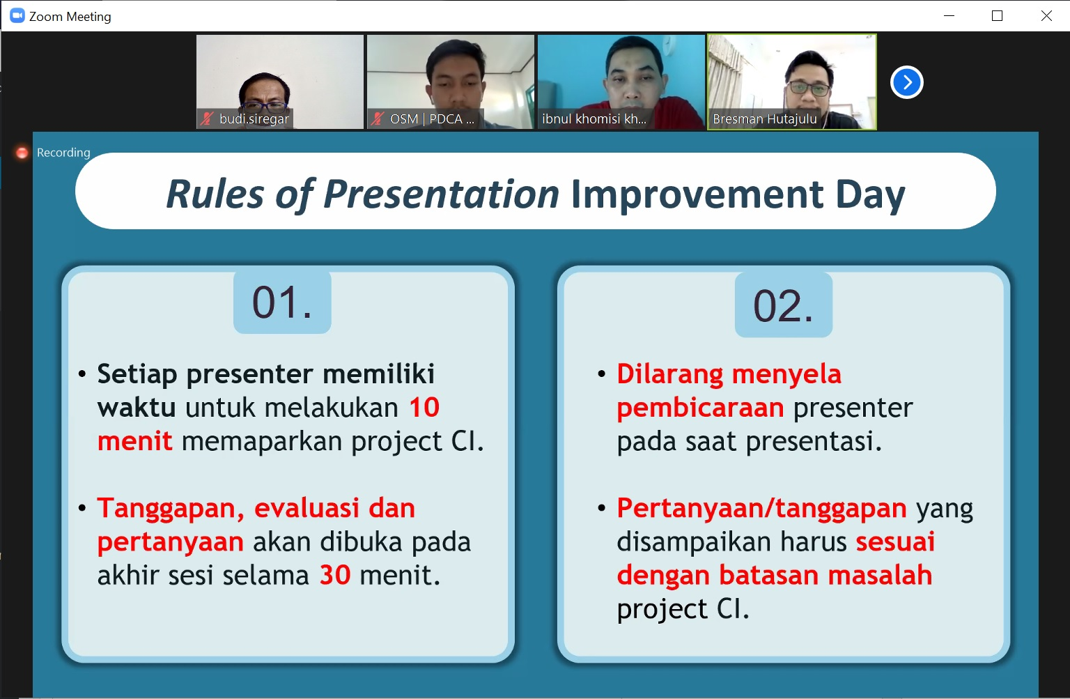 Rules of Presentation Improvement Day