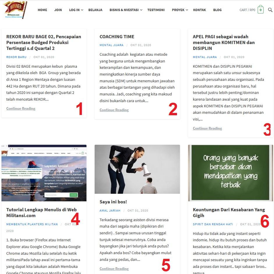 Tulisan terbanyak 6 tulisan dalam sehari di Militansi Dot Com, Kamis 01 Oktober 2020