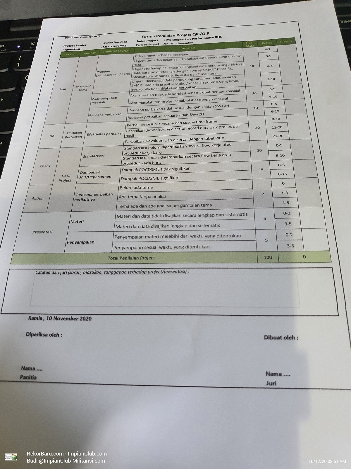 Form Penilaian Project QIC atau QIP