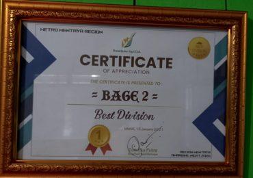 BAGE 02 Terpilih Sebagai BEST DIVISI Tahun 2020 seRegional Mentaya