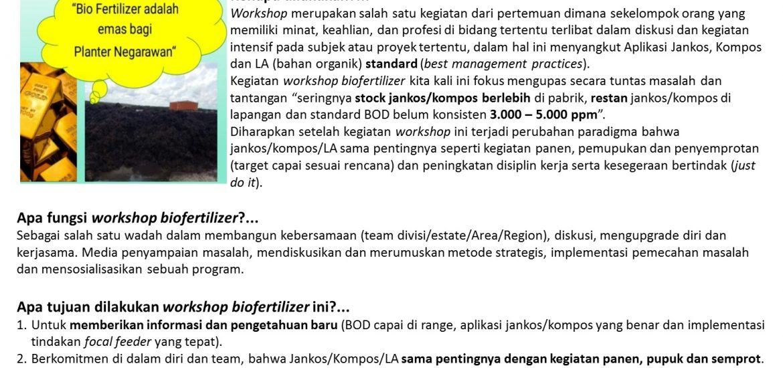 Tuntas Melakukan Kegiatan WorkShop Mill Biofertilizer di BGA Kalimantan Barat
